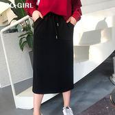 中大尺碼  口袋抽繩黑色長裙 - 適XL~5L《 67163H 》CC-GIRL