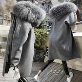 大尺碼L-5XL呢子外套棉衣風衣大码女装2019秋冬新款加厚中长款毛呢外套微胖mm呢子大衣4F121A-9917