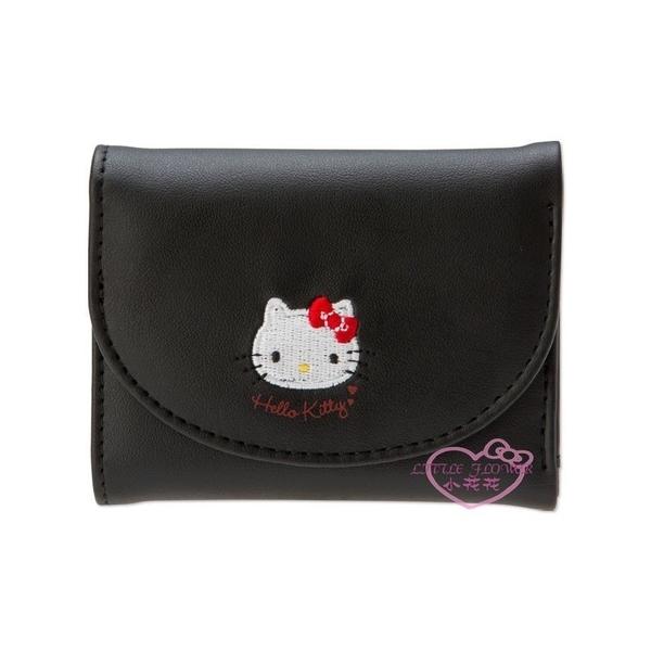 ♥小花花日本精品♥Hello Kitty My Melody 美樂蒂 黑.粉 刺繡 PU皮 短夾 皮包 皮夾 ~預購3~