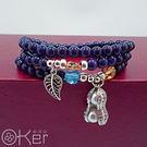 天然藍紗時水晶花生數頁綴飾多圈手鍊 O-Ker KAS417