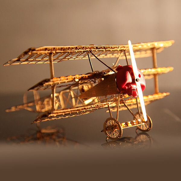 金屬模型創意玩具禮品3D微型立體拼圖DIY二戰福克飛機軍事金屬拼裝模型·樂享生活館