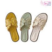 拖鞋.搖滾鉚釘平底拖鞋.黃/綠/米【鞋鞋俱樂部】【054-P999】
