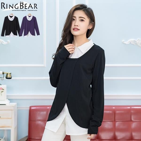 加大尺碼--優雅氣息花苞開襟假兩件式襯衫領長袖上衣(黑.紫2L-5L)-X180眼圈熊中大尺碼