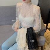 女裝新款氣質半高領蕾絲打底衫秋冬內搭鏤空花邊時尚長袖網紗上衣 雙11 伊蘿