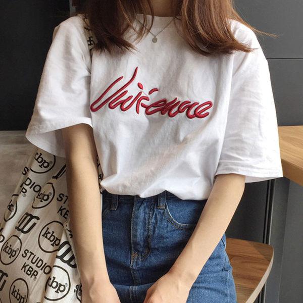 韓國chic刺繡寬鬆bf短袖t恤上衣 - T-8156