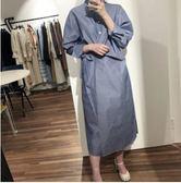 時尚寬鬆襯衫6331設計感條紋襯衫式連身裙TBF-27C胖胖唯依