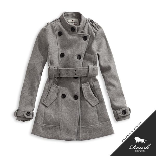 【Roush】女生立領雙排釦毛呢短大衣 - 【615635】