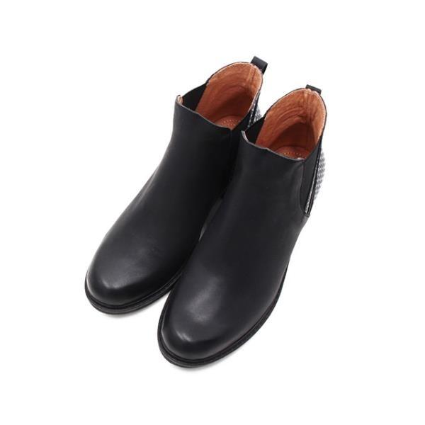 【南紡購物中心】WALKING ZONE (女)造型拼接粗跟短筒靴 女鞋-黑(另有咖)