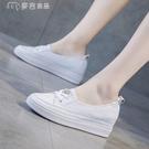 內增高鞋女夏季內增高小白鞋女夏款透氣單鞋爆款百搭鏤空淺口一腳蹬白鞋 快速出貨
