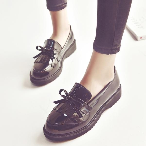 韓版流蘇小皮鞋女牛津女鞋平底樂福鞋蝴蝶結單鞋漆皮復古低跟女鞋