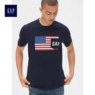 Gap男裝 Logo印花短袖圓領T恤 497825-海軍藍