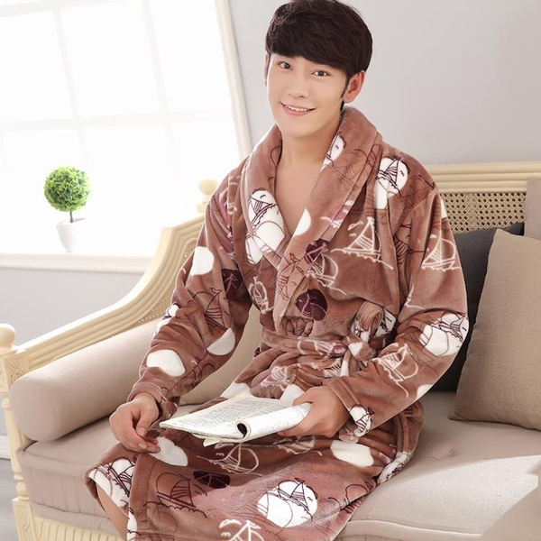 浴袍 法蘭絨男士睡袍加厚加長款浴袍男珊瑚絨情侶浴衣女士睡衣 茱莉亞嚴選