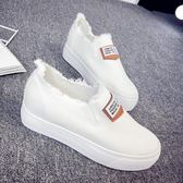 店長推薦新款小白鞋正韓百搭帆布鞋女內增高一腳蹬懶人鞋學生板鞋
