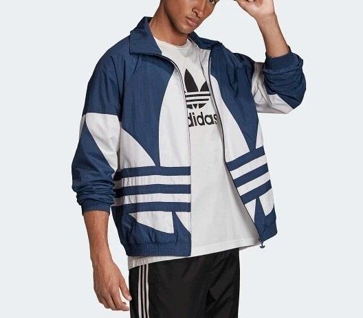 J- adidas ORIGINAL STREFOIL 三葉草 立領外套 藍色 復古 男女 大LOGO 三葉草 三線 休閒 透氣 FM9894