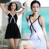 【R  】黑白拼色小香風美背交叉 平口褲連身泳裝比基尼舒適無鋼圈連身款泳衣