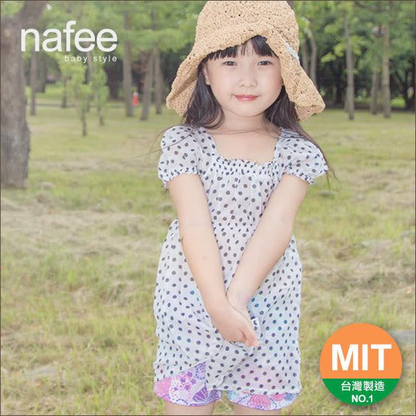 女童裝 nafee新款夏裝 純棉白底深藍點點宮廷風公主袖造型親子款上衣