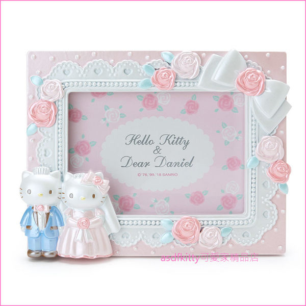asdfkitty可愛家☆KITTY結婚玫瑰立體相框-日本正版商品