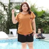 大尺碼上衣 特肥大碼女裝短袖t恤女胖mm100公斤寬鬆遮肚子上衣加肥加大體恤顯瘦 3XL-7XL 交換禮物