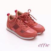 effie 心機美型 絨面真皮亮片綁帶奈米休閒鞋 桃粉紅