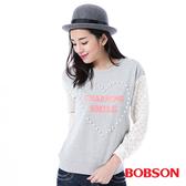 BOBSON    女款搭配蕾絲袖上衣(35123-82)