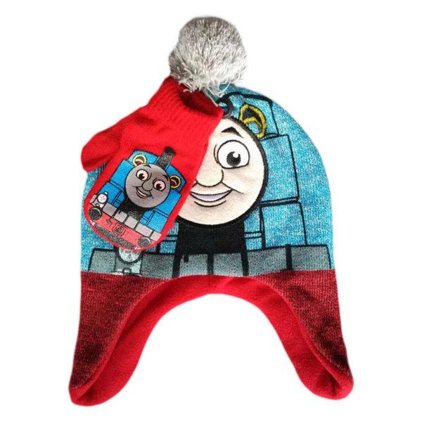 湯瑪士小火車2件套 秋冬立體毛球搖粒絨保暖護耳童帽毛帽+護指童手套~EMMA商城