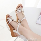 涼鞋女坡跟夏2021新款百搭中跟厚底露趾水鉆韓版羅馬學生涼鞋女鞋 蘿莉新品