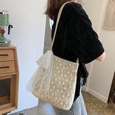包包韓版草編蕾絲單肩包手提包女士大容量水桶購物袋【繁星小鎮】
