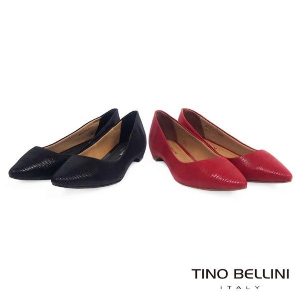Tino Bellini 巴西進口微光紋路皮料舒足低跟鞋 _紅   A69006A 歐洲進口款
