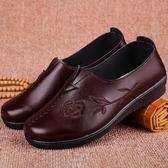 平底奶奶鞋子秋冬老人皮鞋舒適媽媽鞋軟底防滑棉鞋平跟中老年女鞋 韓小姐的衣櫥