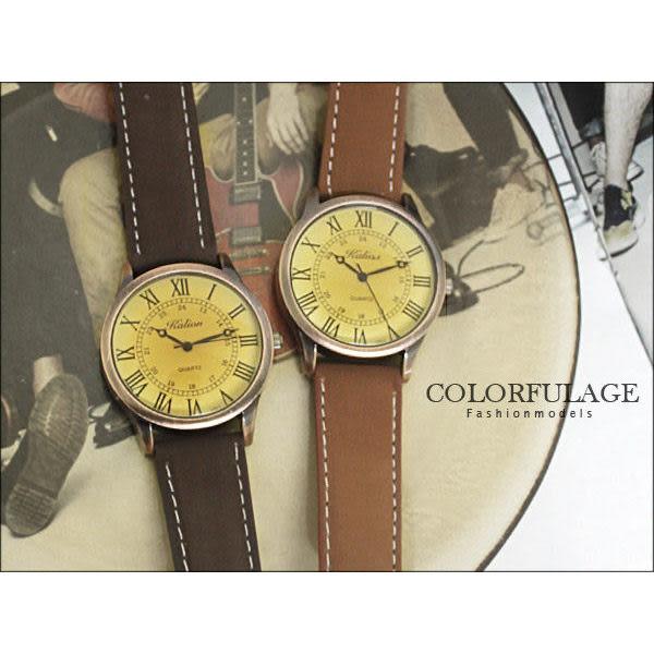 柒彩年代˙獨家仿舊玫瑰金羅馬字情侶對錶 不撞款手錶中性韓系 可調式皮革錶帶【NE840】單支價格