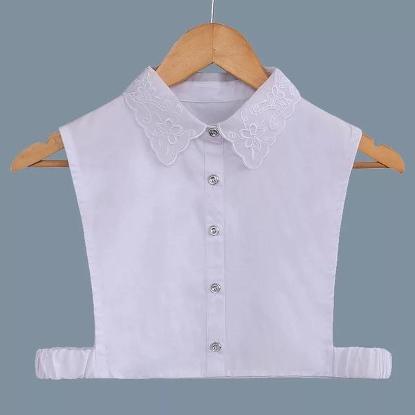 假領子襯衫穿搭假領片  氣質緹花 後扣款 帽T洋裝針織大學T外套內搭白色[E1235]  預購.朵曼堤洋行