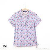 【INI】清新午後、復古碎花日系舒適綿麻衫.灰色