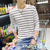 韓版潮流青年寬鬆圓領條紋長袖T恤男打底衫青少年學生春季裝上衣  enjoy精品