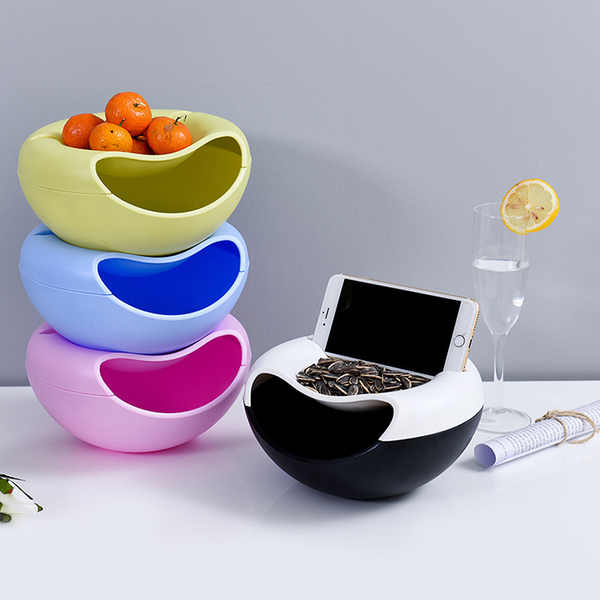 收納創意果盤雙層瓜子盤塑料懶人水果盤嗑瓜子神器懶人果盤垃圾盤(帶支架)─預購CH1436