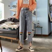 寬管褲 2019秋季新款韓版刺繡牛仔褲高腰顯瘦不規則九分褲闊腿褲子女