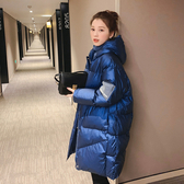 羽絨外套 冬季新款面包服韓版加厚中長款羽絨服袖標棉服女寬鬆加大外套  維多