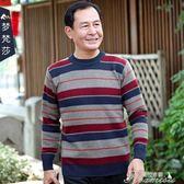 毛衣男-秋冬季中老年人大碼時尚套頭圓領毛衣男中年父親爸爸裝休閑 提拉米蘇