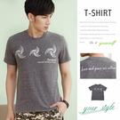 【大盤大】(T75973) 男 全新 短袖T恤 夏 麻花灰 台灣製 圓領T 幾何 套頭 情人節禮物【僅剩M和L號】