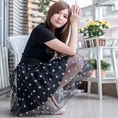 紗裙--甜美個性普普風大圓點紗裙假編織腰帶連身洋裝(XL-5L)-D369眼圈熊中大尺碼