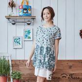 【Tiara Tiara】水玉點點花朵短洋裝(紫花/綠花)-不含襯裙