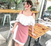 店長嚴選胖mm大碼女裝2019夏裝新款洋氣套裝遮肚子顯瘦連身裙兩件套潮