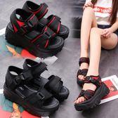 涼鞋 涼鞋女夏季厚底鬆糕鞋韓版新款露趾羅馬鞋百搭舒適個性女鞋子 城市玩家