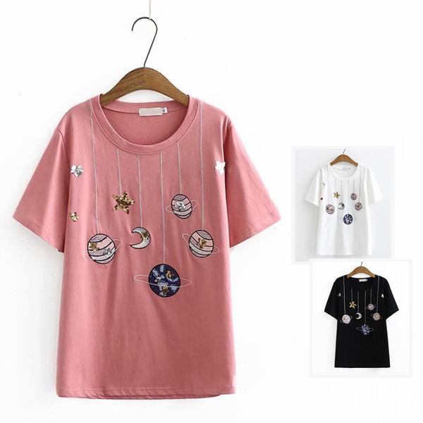 *ORead*日系學院風亮片卡通刺繡圓領短袖T恤上衣(3色XL~3XL)