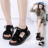 厚底涼鞋 夏季平底低跟平跟松糕跟羅馬鞋系帶學生鞋鞋