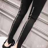 中大尺碼鉛筆褲 修身顯瘦小腳鉛筆褲后面拉鏈設計褲子2019韓版百搭女 nm20474【野之旅】