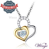 Wings 燦動系列 愛相隨 925純銀精鍍白K金八心八箭鋯石項鍊 會閃動的寶石