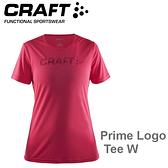 【速捷戶外】瑞典CRAFT 1904342 女LOGO短袖圓領排汗衣(桃紅)  Prime Logo Tee W,跑步,路跑,登山,排汗T