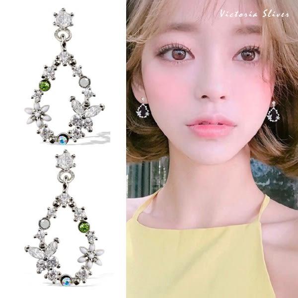 925純銀針  韓國優雅氣質  水滴花環 耳環-維多利亞181087