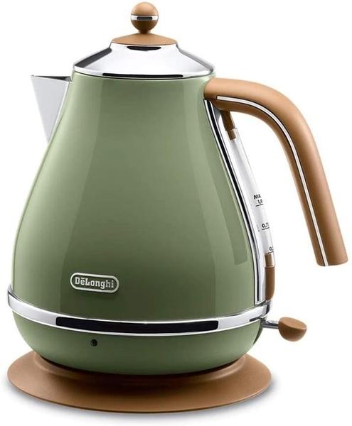 【日本代購】DeLonghi 電水壺 Ikona 復古系列 橄欖綠色 1.0升 KBOV1200J-GR