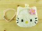 【震撼精品百貨】Hello Kitty 凱蒂貓-珠扣零錢包-珠珠材質-粉色#45576